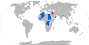 Fahd (armored personnel carrier) - Map of Fahd operators in blue with former operators in red
