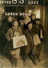 February 23rd 1908 Boys Selling Newspapers on Brooklyn Bridge.jpg
