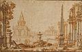 Ferdinando Galli Bibiena - Klasicistična arh. s piramidno zgradbo na levi in kupolasto na desni.jpg