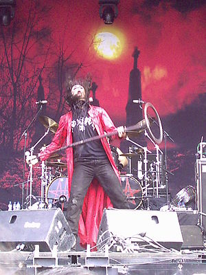 Moonspell - Fernando Ribeiro during a live show in Spain in 2006