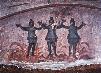 Shadrach, Meshach, and Abednego -  Catacomb of Priscilla, Rome, late 3rd century/early 4th century.