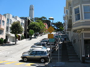 Filbert Street (San Francisco) - Looking east up Filbert Street toward Coit Tower