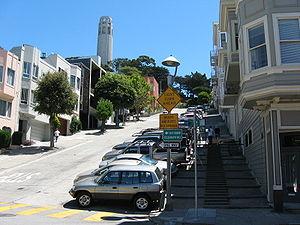 Filbert Street (San Francisco) - Looking east up Filbert Street toward Coit Tower