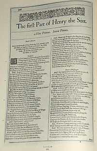 Faksimil av första sidan i The First Part of Henry the Sixt från First Folio, publicerad 1623