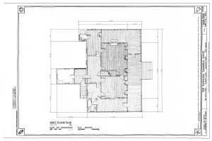 First Floor Plan - Nathaniel Barnwell House, 1023 Middle Street, Sullivans Island, Charleston County, SC HABS SC-875 (sheet 4 of 12).png