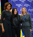 First Lady Michelle Obama and Deputy Secretary Higginbottom With 2014 IWOC Awardee Ruslana Lyzhychko of Ukraine.png