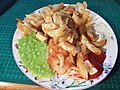 Fish and Chips and Mushy Peas with tomato ketchup & tartare sauce. (42442630705).jpg