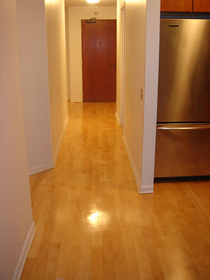 Wood flooring - An example of solid wood flooring with a top coating of polyurethane