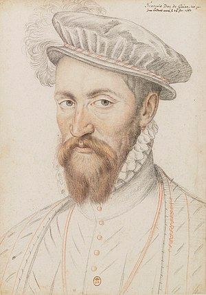 Francis II of France - Francis of Lorraine, Duke of Guise. Pencil portrait by François Clouet.