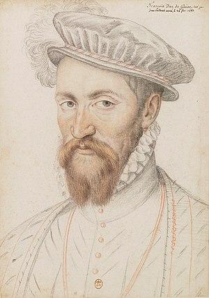 Francis II of France - Francis of Lorraine, Duke of Guise. Pencil portrait by François Clouet.