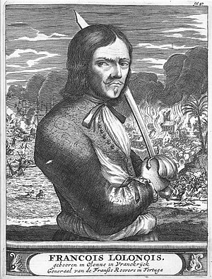 François l'Olonnais - An illustration of François lOlonnais from a 1984 edition of The History of the Bucaneer of America
