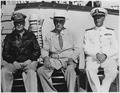 Franklin D. Roosevelt, General MacArthur, and Admiral Nimitz in Pearl Harbor, Hawaii - NARA - 196366.tif