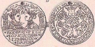 Frederick I of Denmark - Gold coin or medal of Frederick I. Shows him together with Sophia on the obverse, and coat of arms on the reverse.