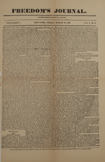 <i>Freedoms Journal</i> First African-American owned and operated newspaper published in the United States (1827-1829)