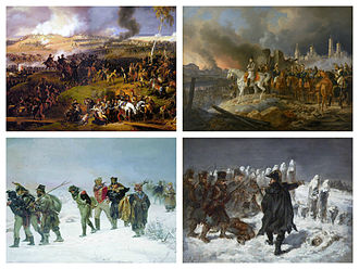 French invasion of Russia - Clockwise from top left: The Battle of Borodino by Louis Lejeune; The Fire of Moscow by Albrecht Adam; Marshal Ney at the battle of Kaunas by Auguste Raffet; French retreat by Illarion Pryanishnikov