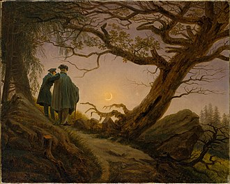 Two Men Contemplating the Moon - Two Men Contemplating the Moon, Metropolitan Museum of Art, c. 1825–30. 34.9 x 43.8 cm