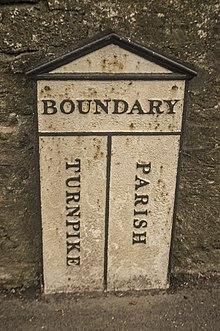 Segno che segna il confine tra parrocchia e turnpike fiducia responsabilità, Frome, Somerset