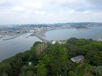 Enoshima - Looking towards Fujisawa from Enoshima Lighthouse