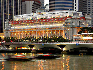 The Fullerton Hotel Singapore as seen from acr...