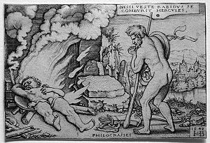 Women of Trachis - Hercules on his funeral pyre by Hans Sebald Beham
