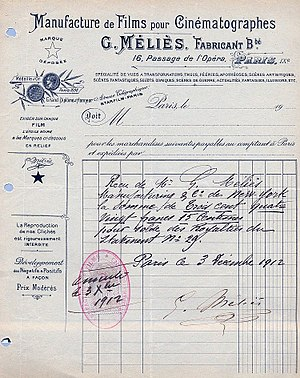Star Film Company - Receipt signed by Méliès on behalf of his film company in 1912