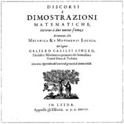 Capa de Discorsi e Dimostrazioni Matematiche Intorno a Due Nuove Scienze publicada em Leiden em 1638.