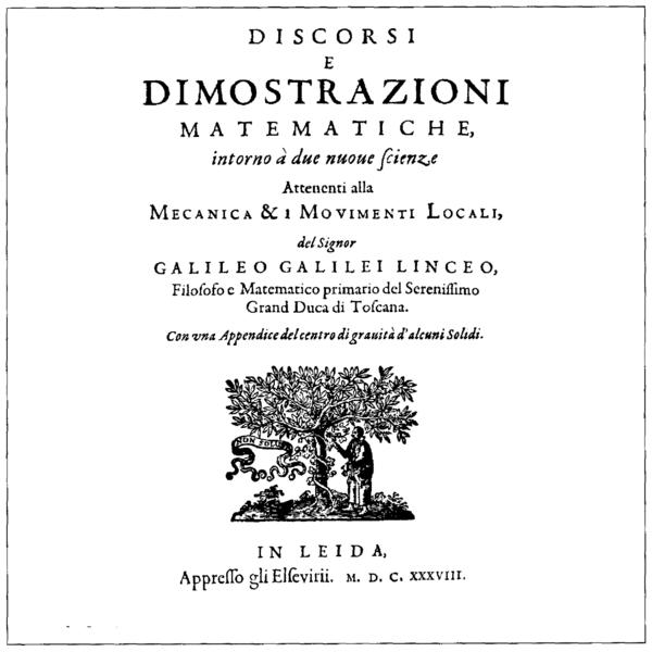 File:Galileo Galilei, Discorsi e Dimostrazioni Matematiche Intorno a Due Nuove Scienze, 1638 (1400x1400).png