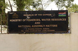 Politics of the Gambia - A government ministry signboard