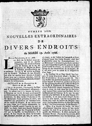 Nouvelles Extraordinaires de Divers Endroits - Front cover (first page) of the Gazette de Leyde from 29 August 1786