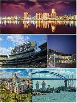 Clockwise from top: Downtown Green Bay, Resch Center, Leo Frigo Memorial Bridge, Brown County Courthouse, Lambeau Field