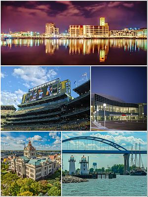 Green Bay, Wisconsin - Clockwise from top: Downtown Green Bay, Resch Center, Leo Frigo Memorial Bridge, Brown County Courthouse, Lambeau Field