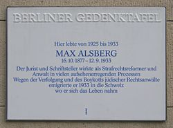 Photo of Max Alsberg white plaque