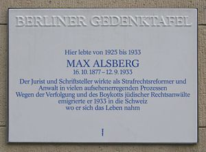 Max Alsberg - Memorial plaque in Berlin