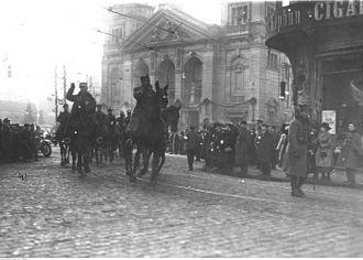 Municipal Theatre in Bydgoszcz - General Józef Dowbor-Muśnicki entering Bydgoszcz (Teatralny Square) on 20th January 1920.