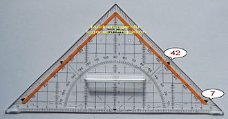 Set square - Geodreieck with marks for engineer projection (see axonometry)