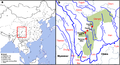 Geographic locations of Qiangic and other East Asian populations.png