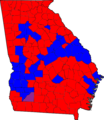 Georgia Senatorial Election Results by county, 2008.png