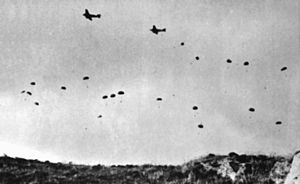 Declarations of war during World War II - Image: German paratroopers jumping From Ju 52s over Crete