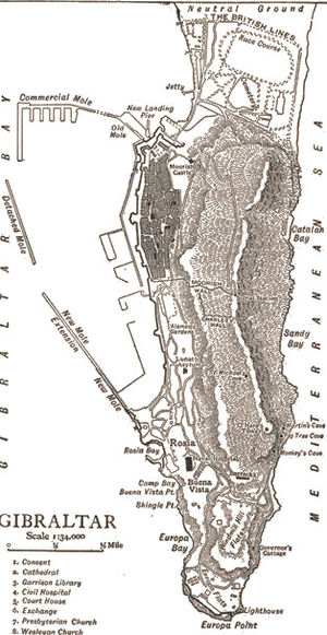 Detached Mole, Gibraltar Harbour - The Detached Mole as shown on a map published in 1911