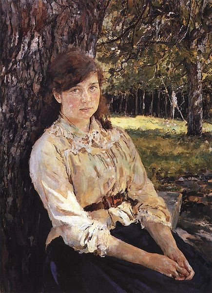 File:Girl in the Sunlight. Portrait of Maria Simonovich. 1888. Oil on canvas. The Tretyakov Gallery, Moscow, Russia..jpg