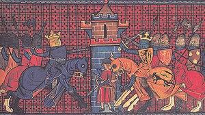 Capetian–Plantagenet rivalry - The Battle of Gisors, 1198, between Philip II Augustus (left) and Richard the Lionheart (right) (Chroniques de Saint-Denis (ou de France) , 14th century)