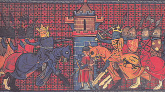 Capetian–Plantagenet rivalry - The Battle of Gisors, 1198, between Philip II Augustus (left) and Richard the Lionheart (right) (Chroniques de Saint-Denis (ou de France) , 14th century)