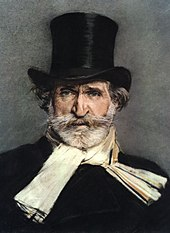 Painting of Giuseppe Verdi wearing a black top hat and cream-colored neck scarf, byGiovanni Boldini, 1886