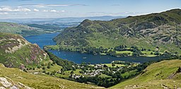 Landskab i Lake District med Glenridding og Ullswater