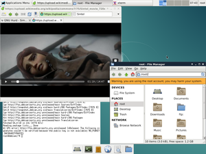GNU Hurd - Debian GNU/Hurd with Xfce4 and web browser Midori