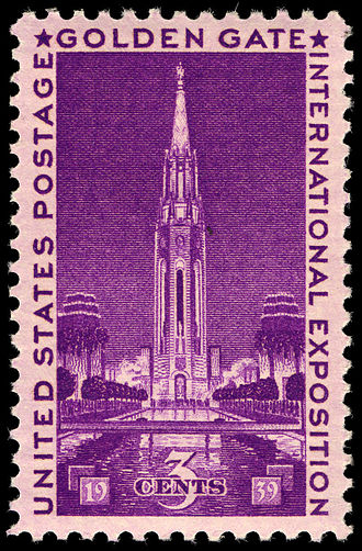 Golden Gate International Exposition - 1939 U.S. commemorative stamp featuring the Tower of the Sun