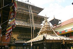 A view of the Golden Temple in Patan.