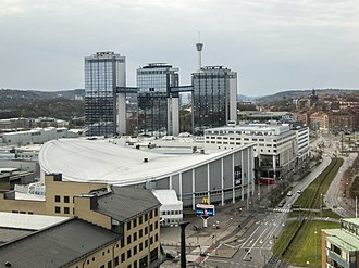 Scandinavium - Scandinavium with the Swedish Exhibition and Congress Centre and Gothia Towers in the background