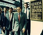 """Governor Robert """"Bob"""" Martinez leading entourage on the way to announce his intention to run for re-election - Tallahassee, Florida.jpg"""