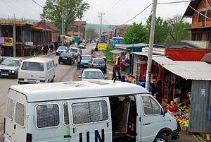 Serbian enclaves in Kosovo - A street in Gračanica, 2008.